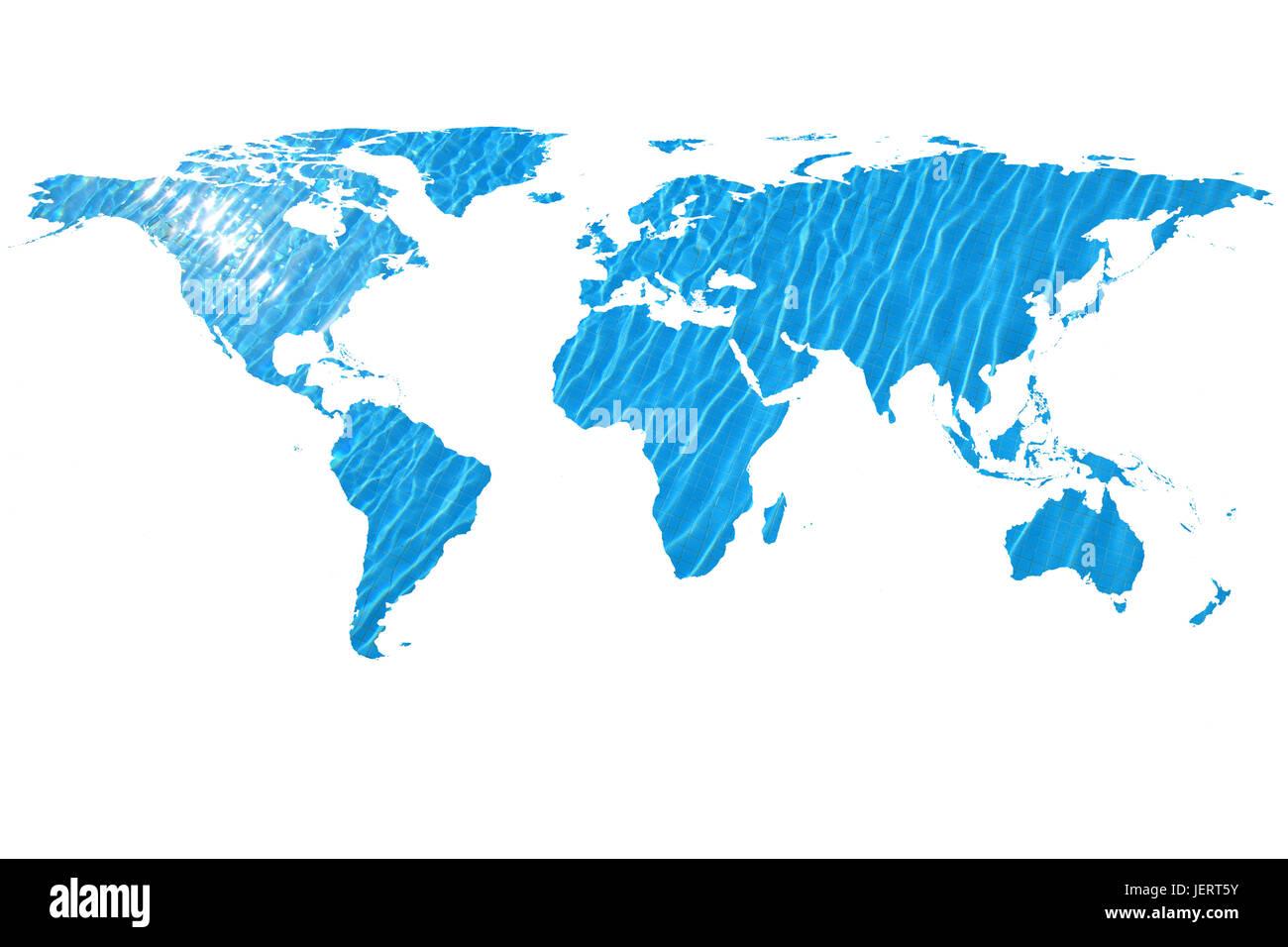 Immagine concettuale del mondo piatto mappa e acqua. La NASA mappa piatta del mondo immagine utilizzata per arredare Immagini Stock
