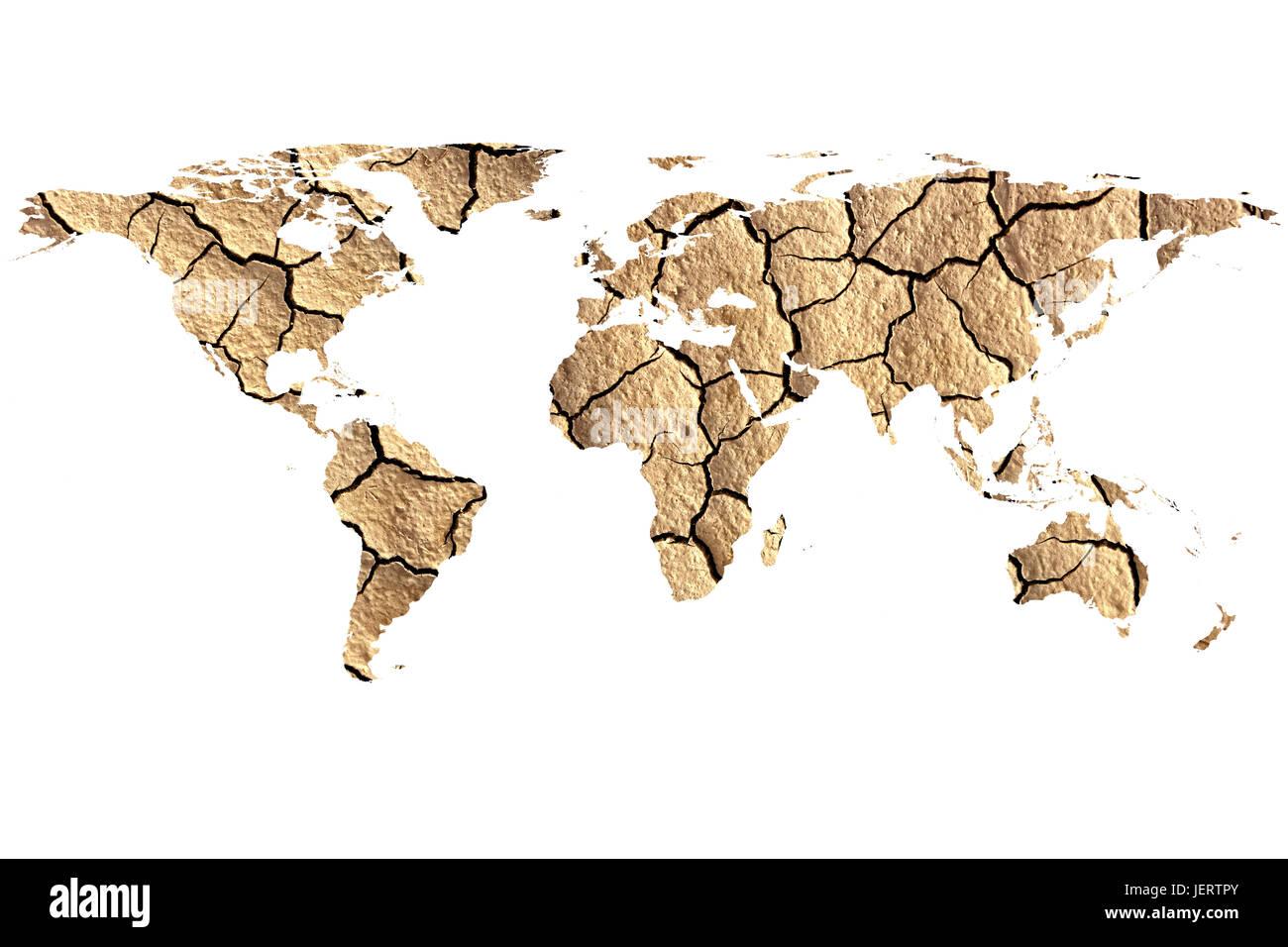 Immagine concettuale del paesaggio essiccato con mappa piatta del mondo, arredate NASA Mappa mondo immagine utilizzata Immagini Stock