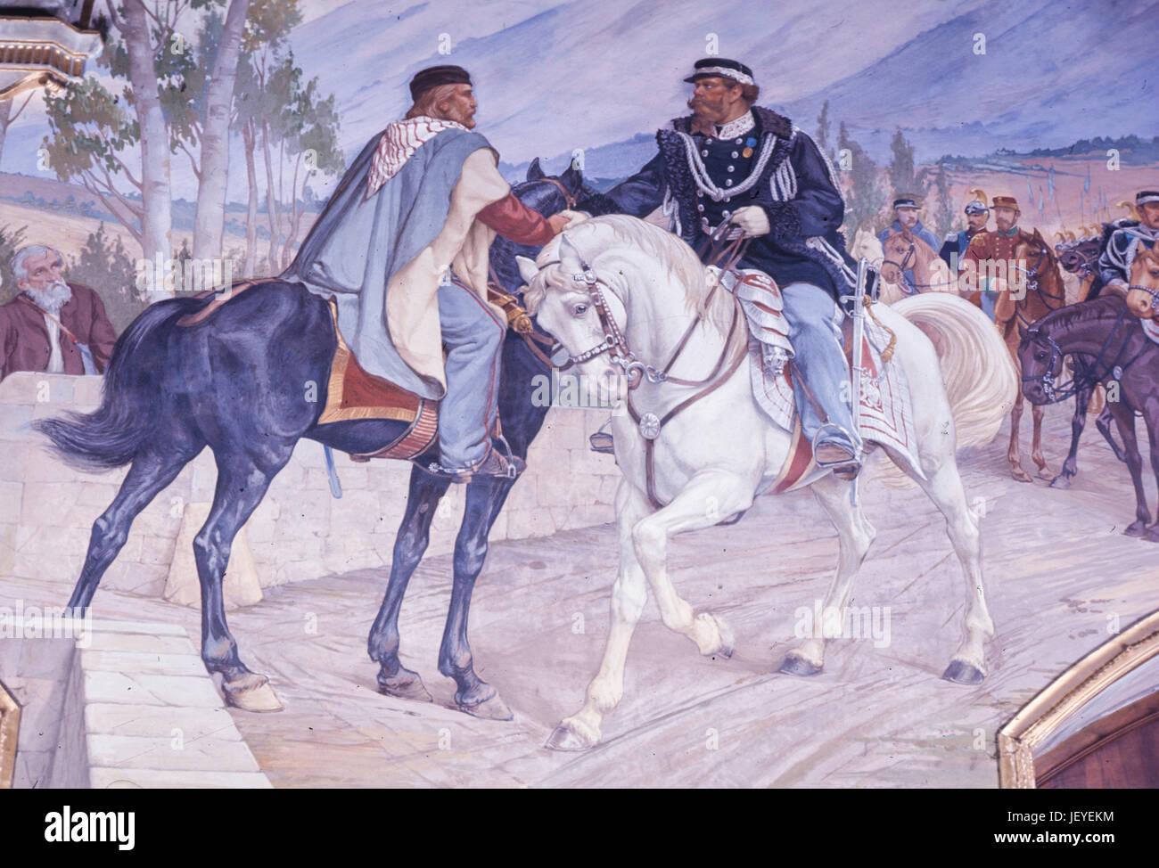 Incontro tra Giuseppe Garibaldi e Vittorio Emanuele II, o riunione di Teano, Ottobre 26, 1860 Immagini Stock