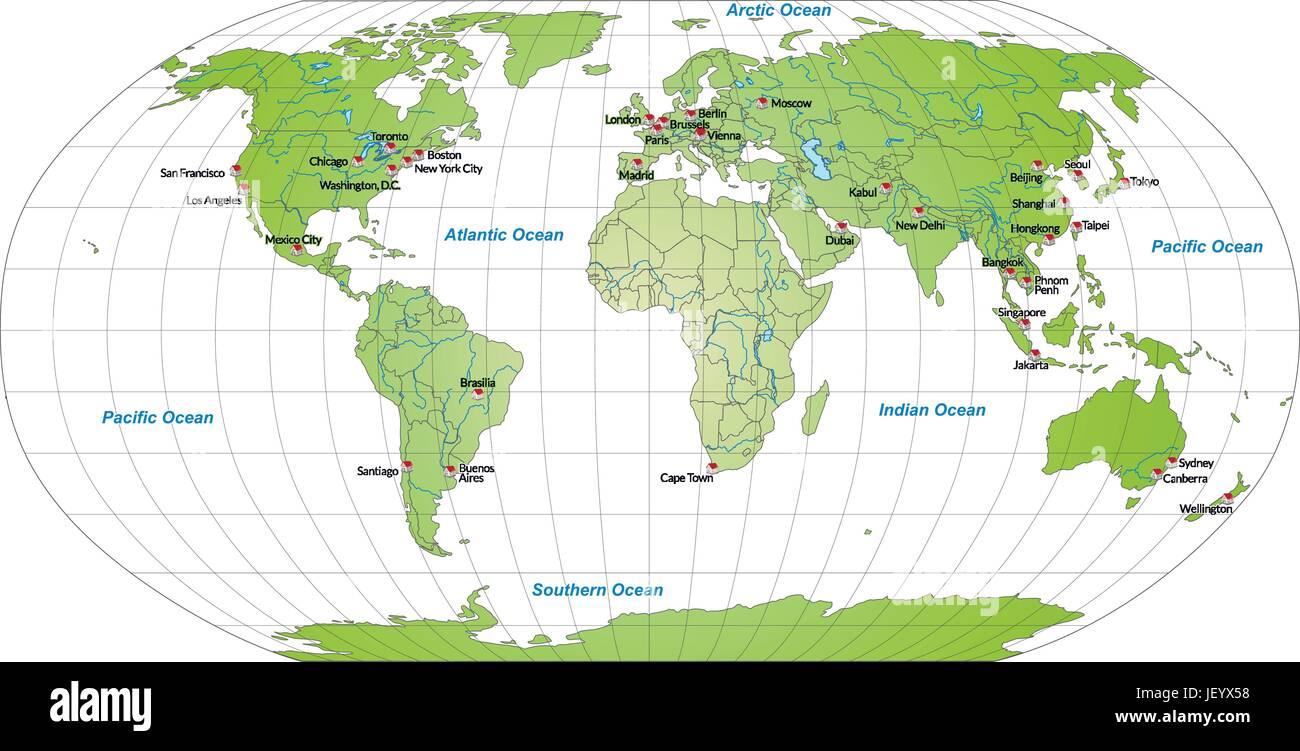 Cartina Capitali Del Mondo.Mappa Di Capitali Del Mondo In Verde Immagine E Vettoriale Alamy