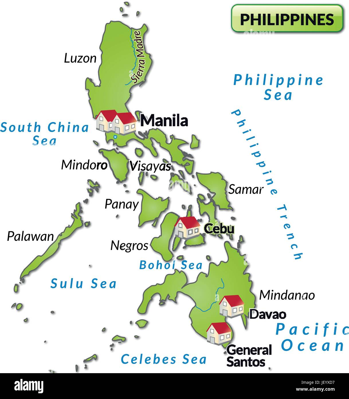 Cartina Geografica Isole Filippine.Mappa Dell Isola Delle Filippine Come Una Infografica In Verde Immagine E Vettoriale Alamy
