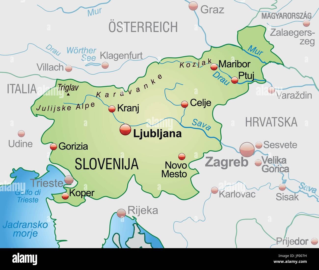 Cartina Turistica Slovenia.Slovenia Map Immagini E Fotos Stock Alamy