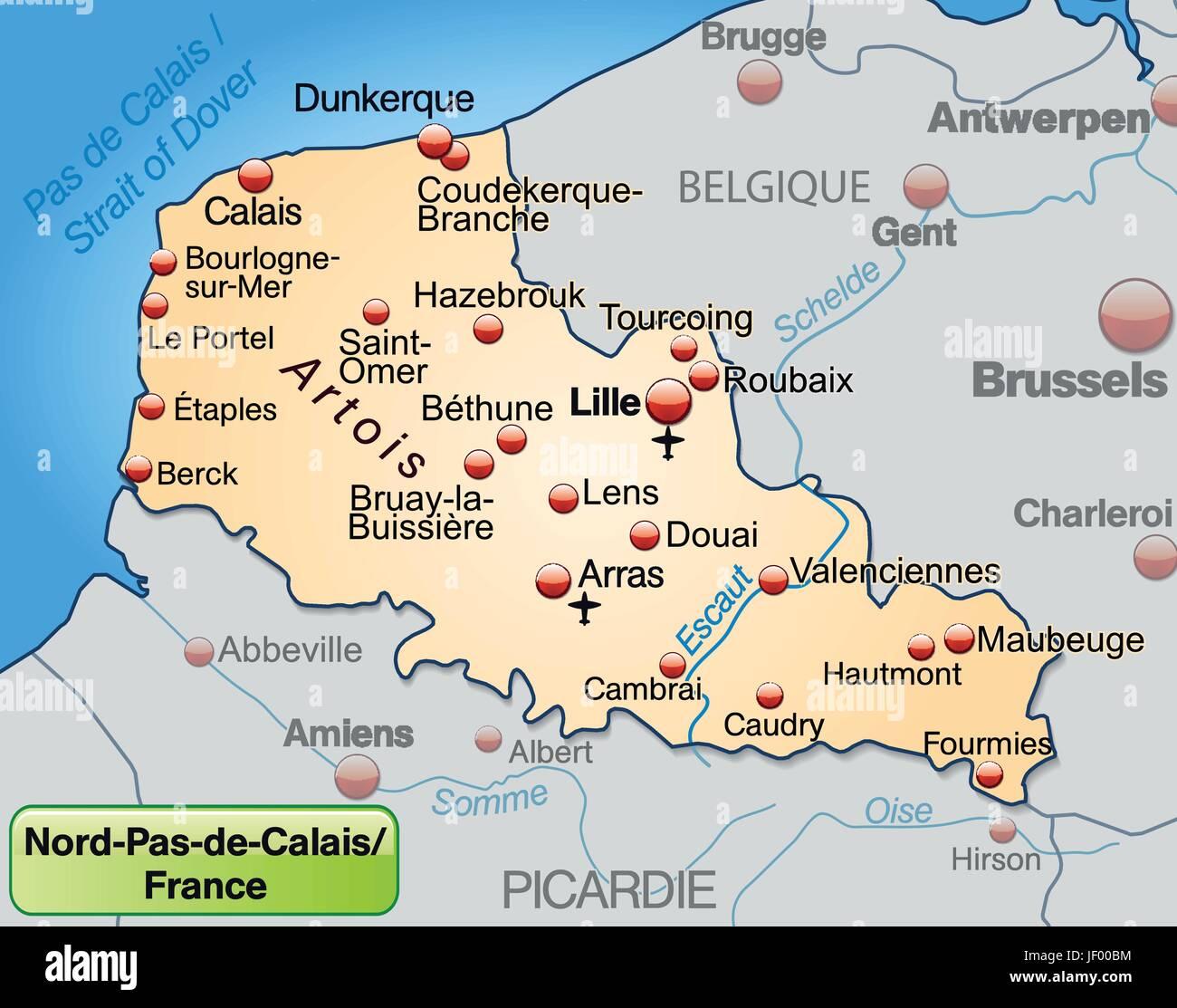 Cartina Stradale Francia Del Nord.Nord Pas De Calais In Francia Come Una Mappa Ambientale Di Tutte