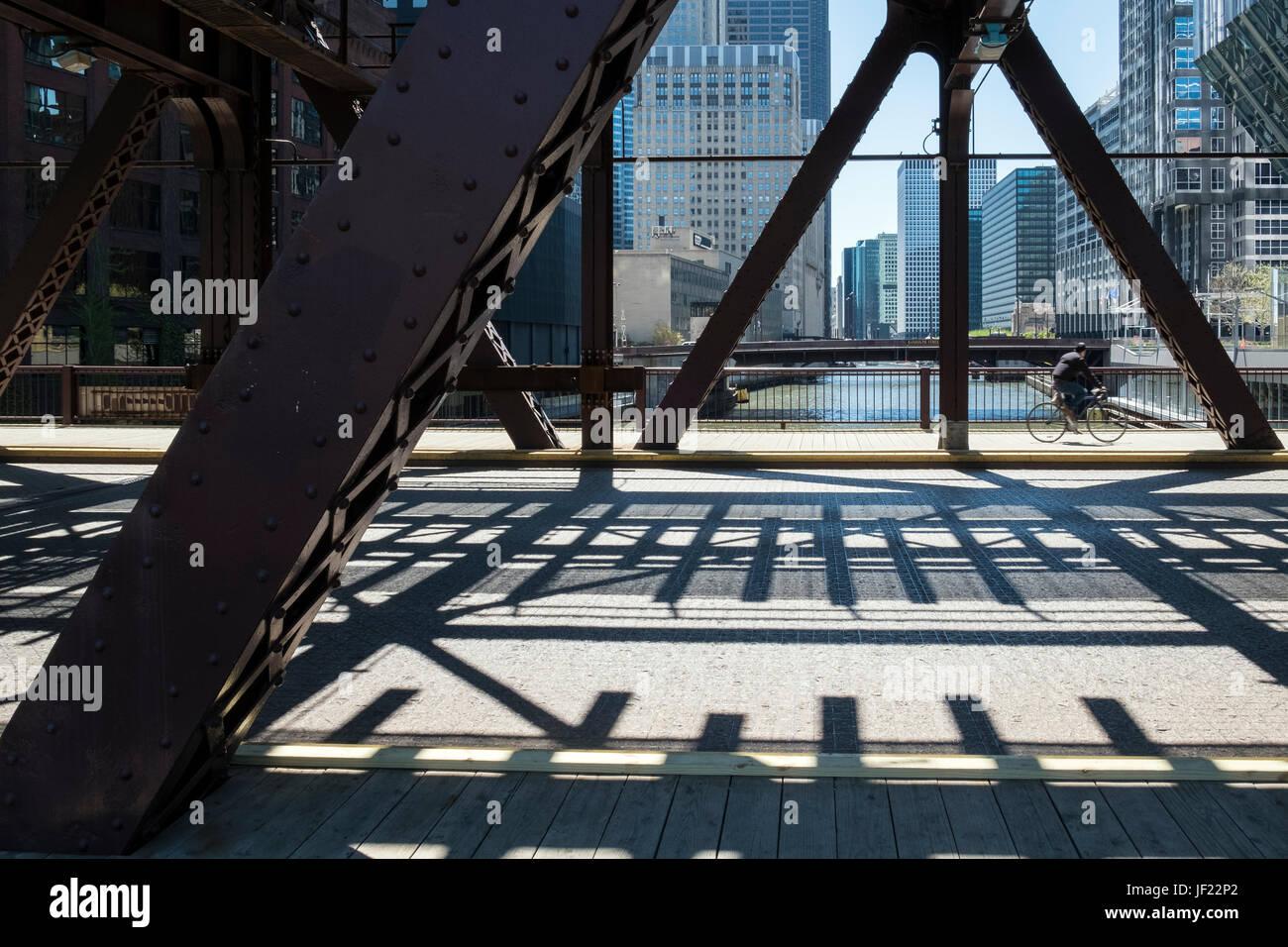 Ciclista di Chicago Immagini Stock