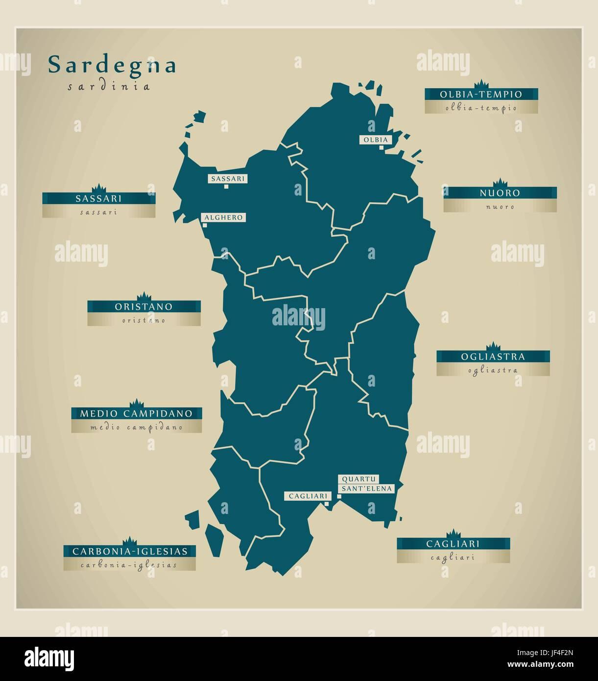 Cartina Sardegna Fiumi.Mappa Moderno Sardegna Immagine E Vettoriale Alamy
