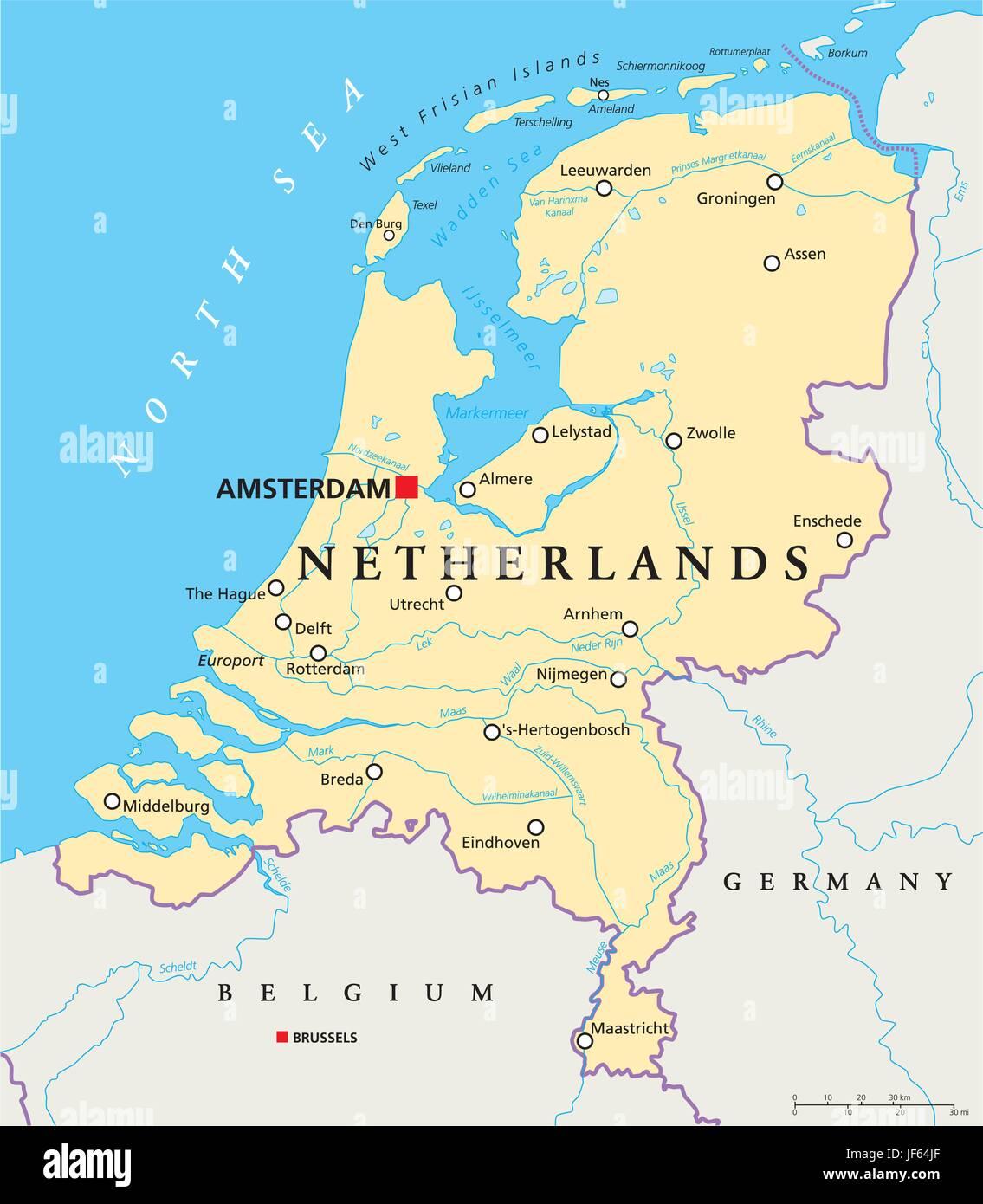 Cartina Geografica Fisica Dell Olanda