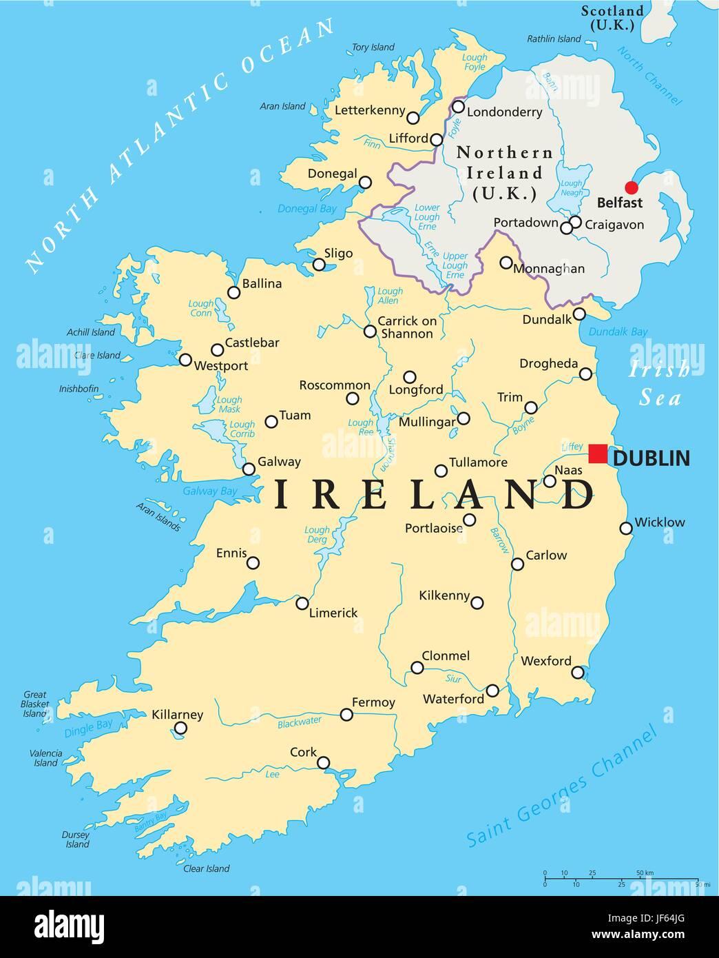 Mare D Irlanda Cartina.Irlanda Mappa Atlas Mappa Del Mondo Oceano Atlantico Acqua Salata Mare Oceano Immagine E Vettoriale Alamy