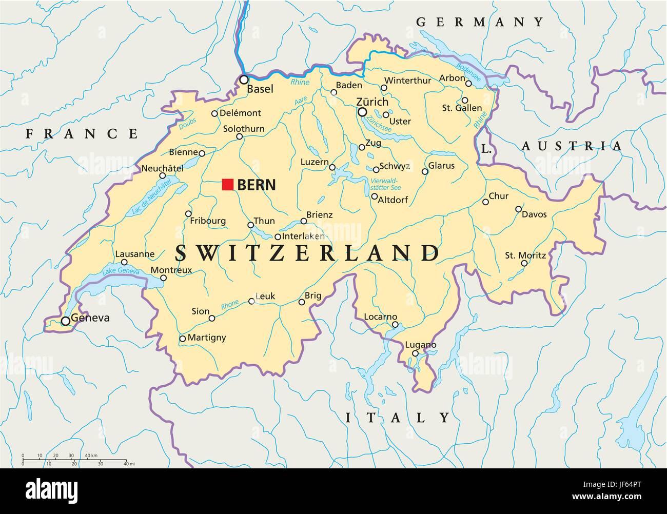 Cartina Svizzera Geografica.Alpi Svizzera Zurigo Svizzera Mappa Atlas Mappa Del Mondo Berna Reno Immagine E Vettoriale Alamy