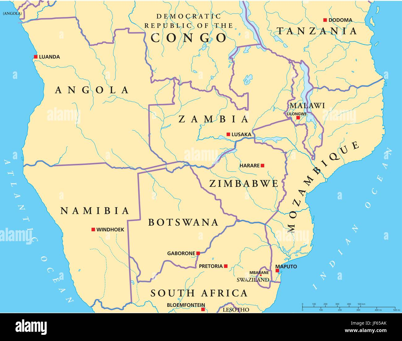 Africa Centrale Cartina Politica.Africa Sud Centrale Mappa Atlas Mappa Del Mondo Politico Africa Immagine E Vettoriale Alamy