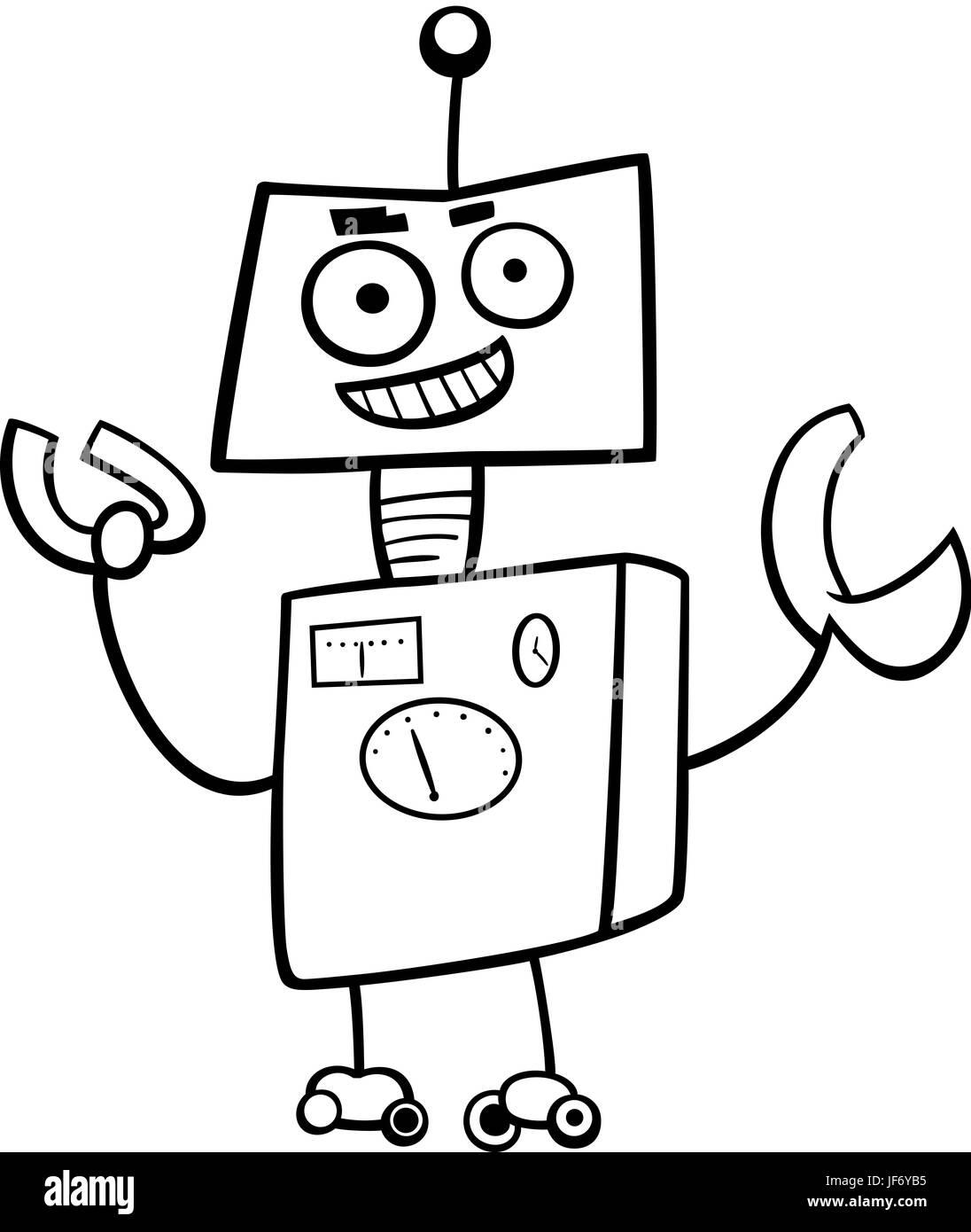 Robot Personaggio Dei Fumetti Libro Da Colorare Foto Immagine