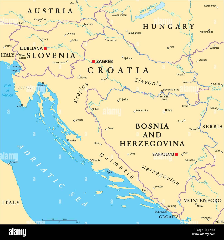 Croazia E Slovenia Cartina Geografica.Politico Croazia Bosnia Mappa Atlas Mappa Del Mondo Slovenia Viaggi Immagine E Vettoriale Alamy