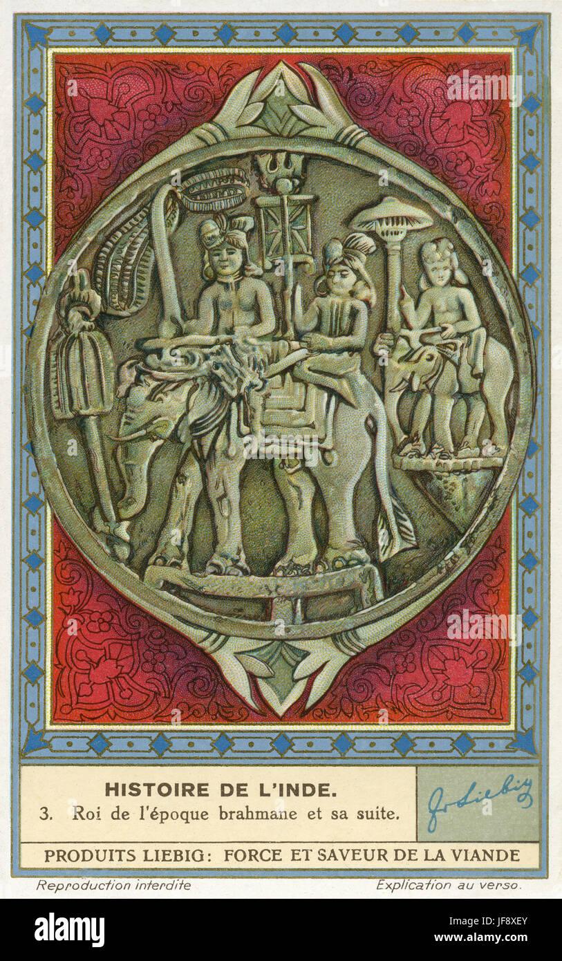 Re del periodo vedico cavalcare un elefante con la sua stazione. Storia di India. Liebig collezionisti di carta, Immagini Stock