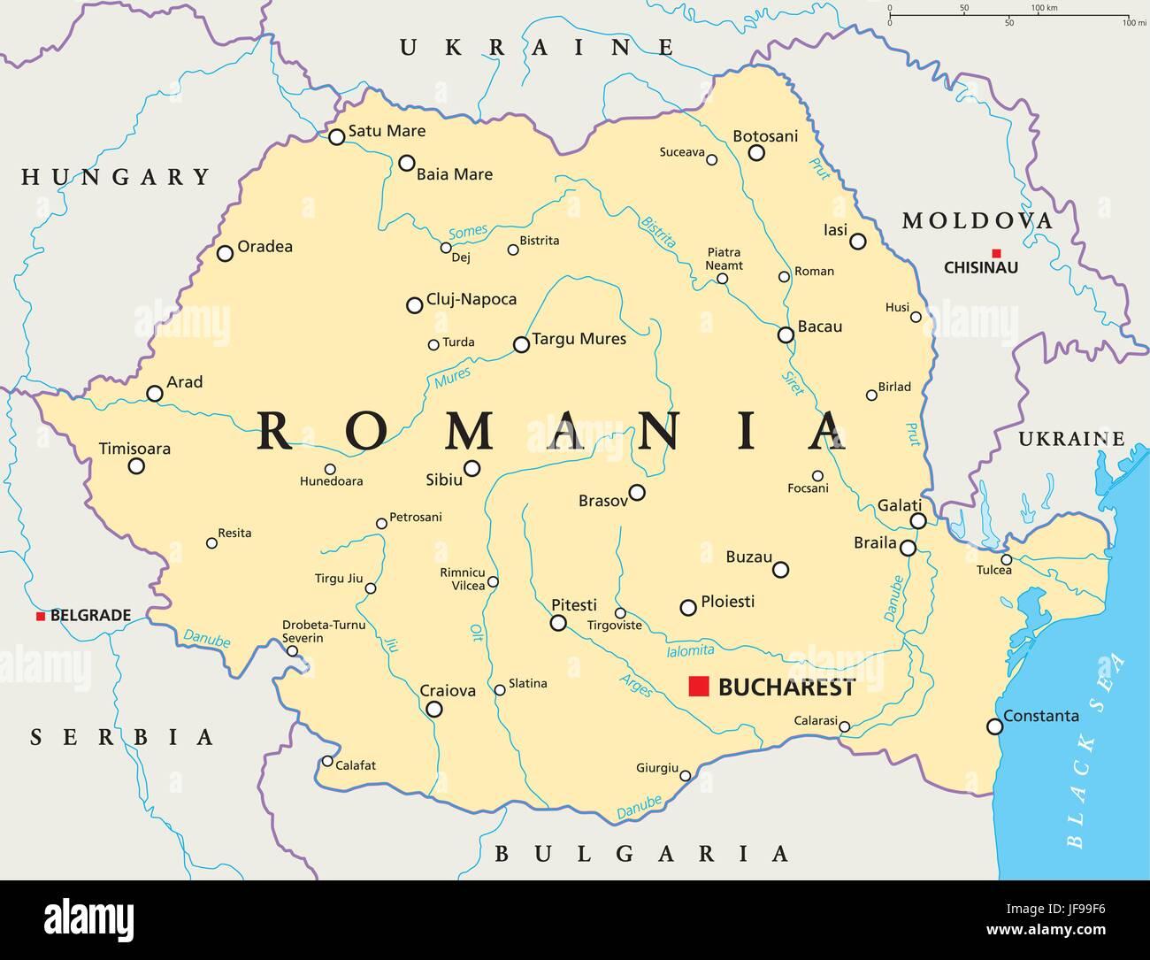 Cartina Dettagliata Romania.La Romania Mappa Politico Immagine E Vettoriale Alamy