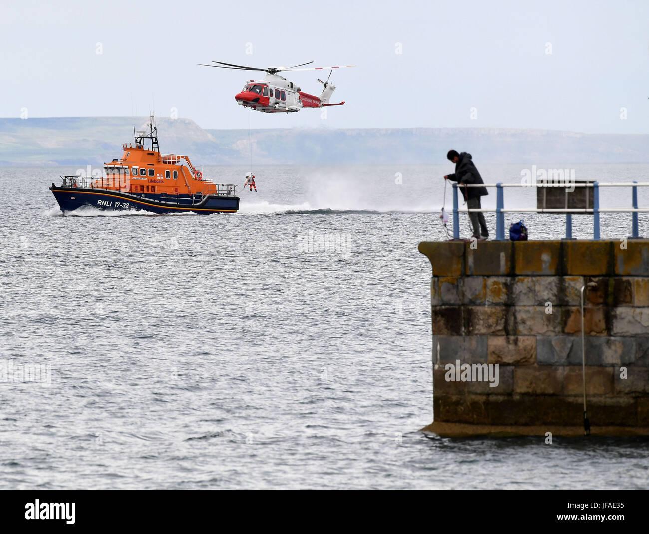 Dorset, Regno Unito. Il 30 giugno, 2017. Dopo più di venti anni nel servizio di ricerca e salvataggio in elicottero Immagini Stock
