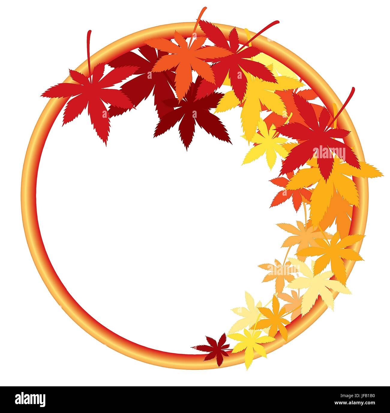 In autunno le foglie di acero con diverse tonalità di colori Immagini Stock