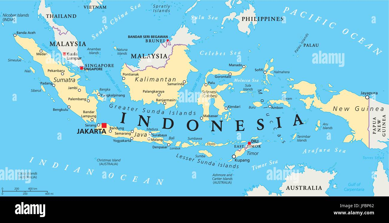 Cartina Geografica Dell Indonesia.Indonesia Mappa Politico Immagine E Vettoriale Alamy