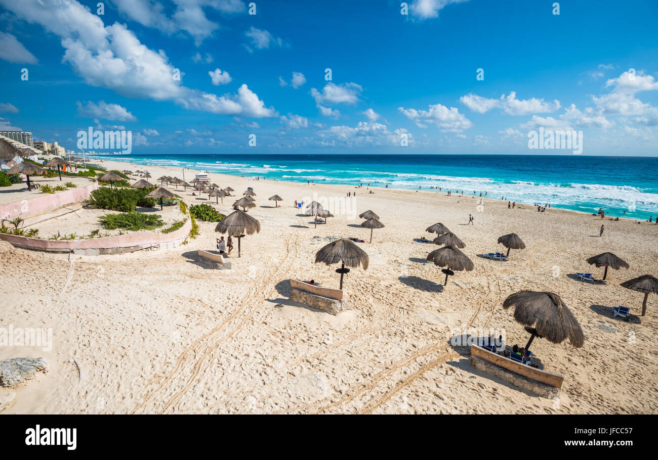 Spiaggia di Cancun panorama, Messico Immagini Stock