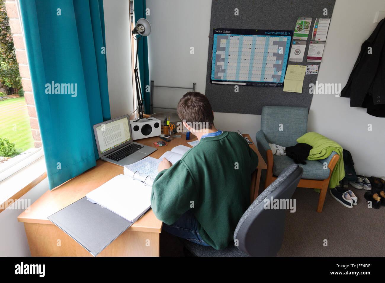 Studente universitario studiando per gli esami nella sua camera, Queens College, Università di Cambridge, Inghilterra Immagini Stock