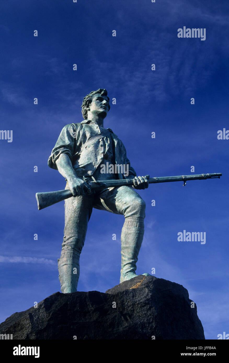 Il Capitano Parker statua sulla battaglia verde, Lexington, Massachusetts Foto Stock