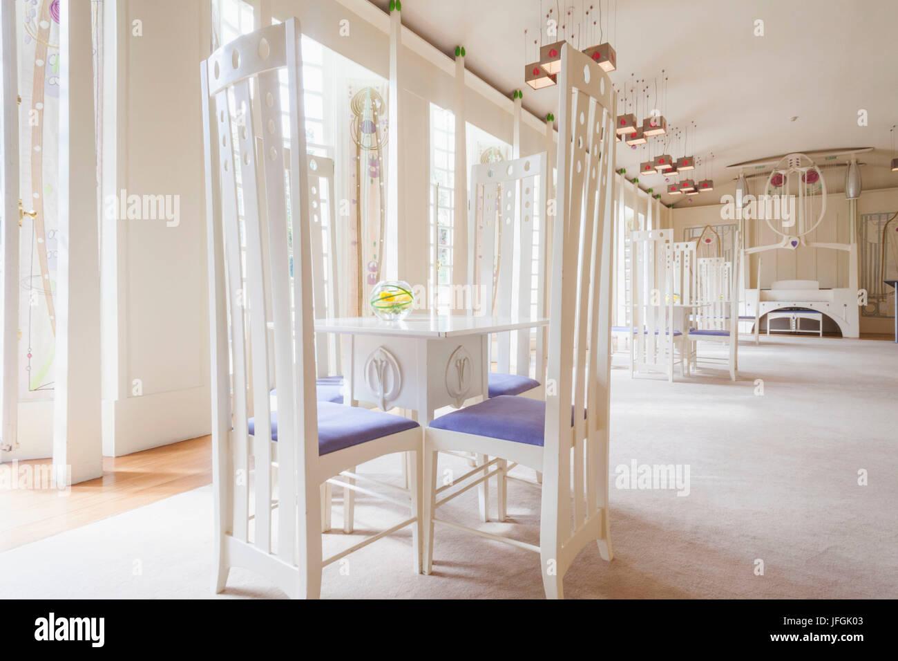 La Scozia, Glasgow, Bellahouston Park, casa per un amante dell'arte, mostre di Charles Rennie Mackintosh mobili Immagini Stock