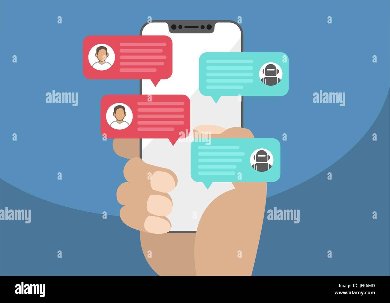 Uomo con la mascherina-free / smartphone prive di telaio in mano e chiacchierando con chat bot robot. I messaggi di chat notifica sullo smartphone isolato su sfondo blu Illustrazione Vettoriale