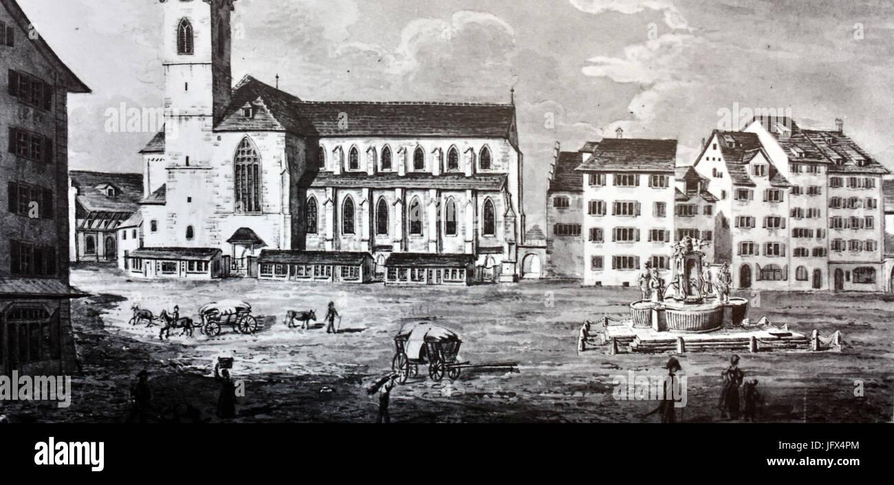 Münsterhof Ausstellung vom Markplatz zum Parkplatz zum Kulturplatz - Der Münsterhof mit dem 1811 abgebrochenen Immagini Stock