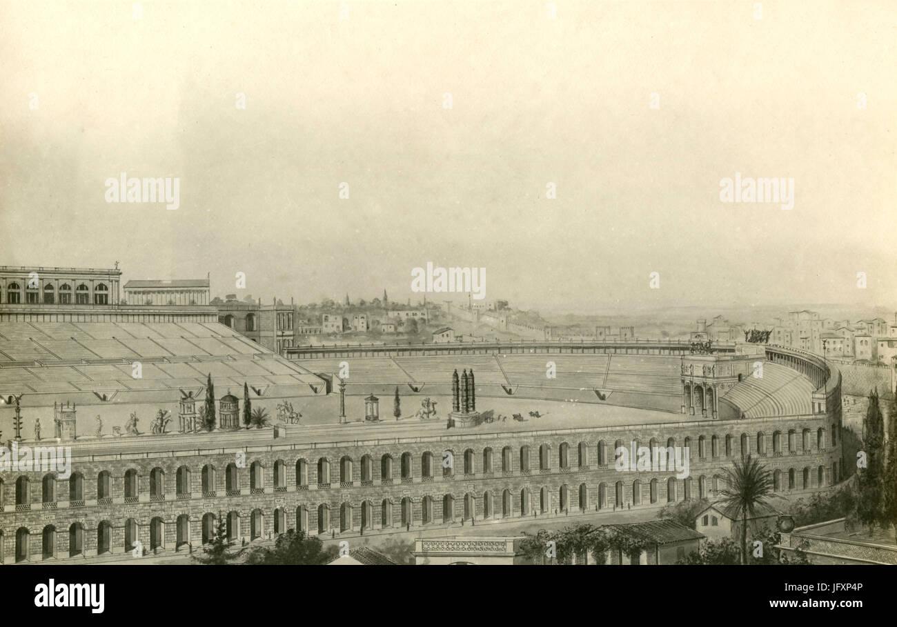 Disegno di ricostruzione del Circo Massimo, il Palazzo di Severo, Roma, Italia 356 annuncio Immagini Stock