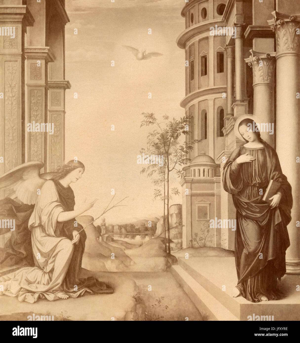 Il Annuntiation della Vergine, dipinto da Francesco Francia, Milano, Italia Immagini Stock