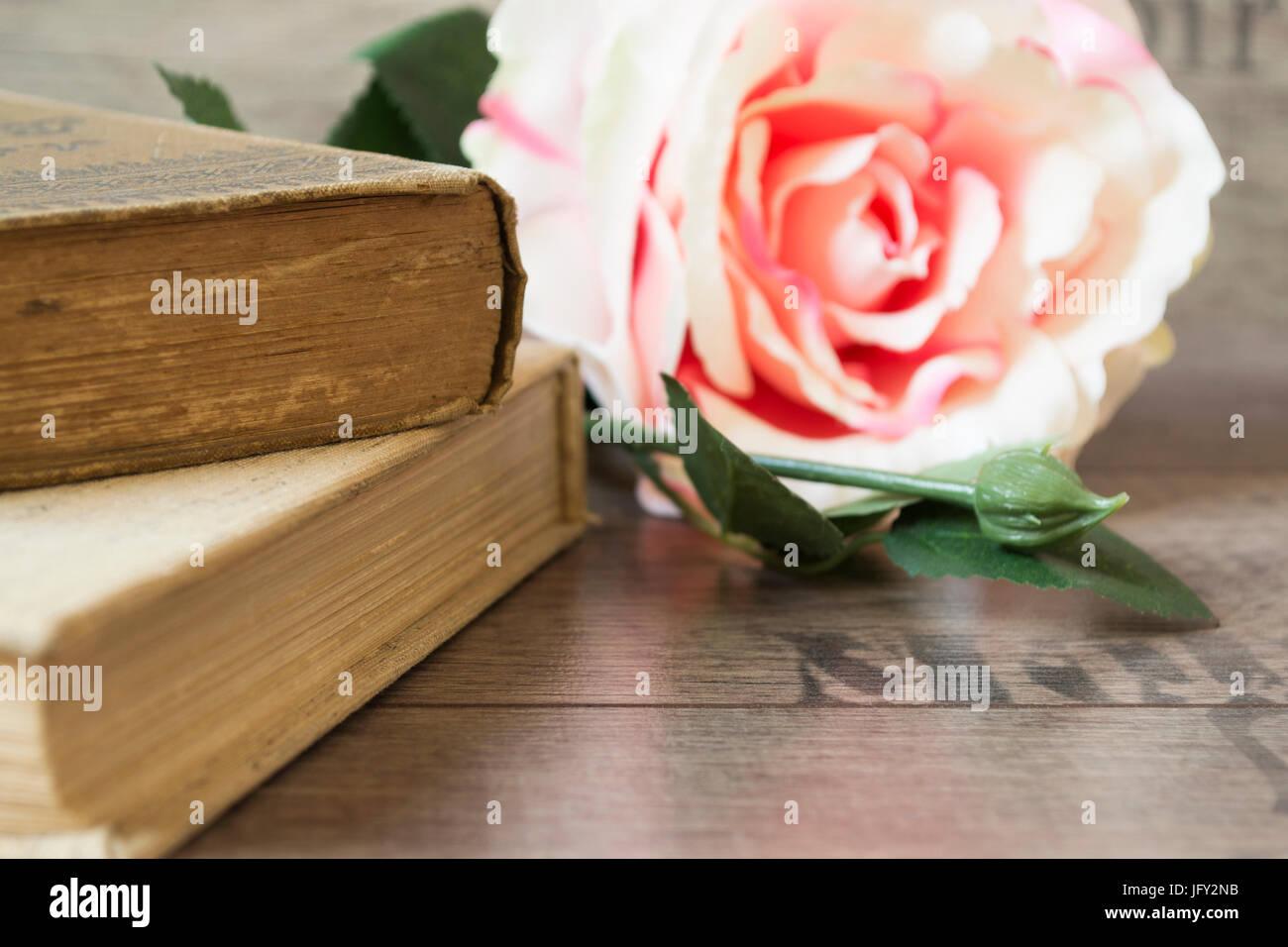 Libri Antichi E Fiore Sorse Su Un Sfondo Di Legno Romantica Cornice