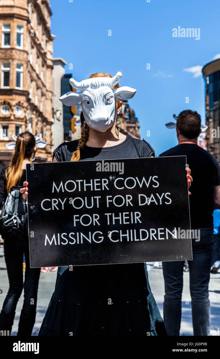 Una viva! Animale manifestante carità, tenendo un cartello e che indossa una maschera di vacca, Leicester Square, Immagini Stock