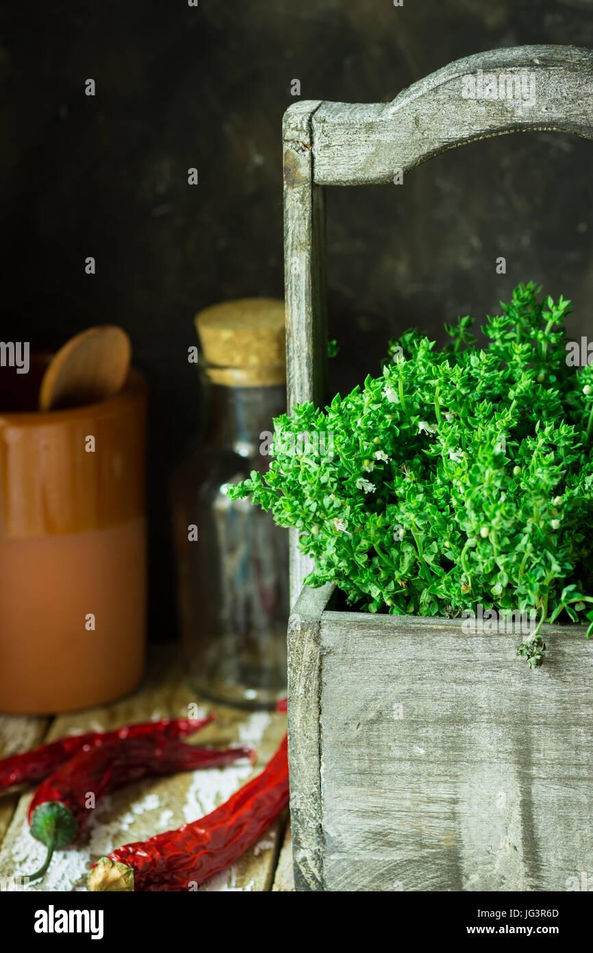 Fresco giardino di erbe, il timo in legno garden casella ...