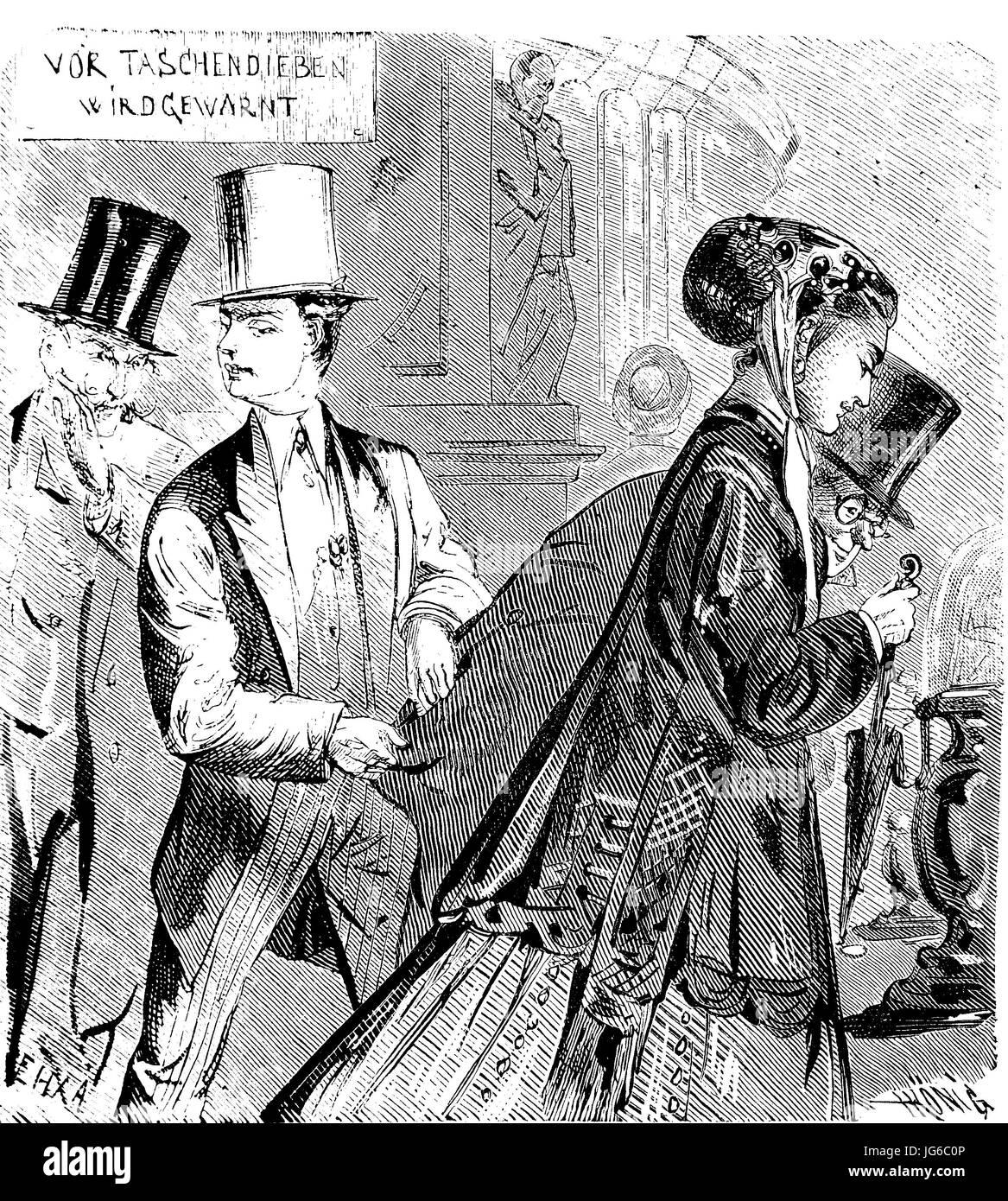 Miglioramento digitale:, borseggio, furti, il furto di denaro, illustrazione del XIX secolo Immagini Stock