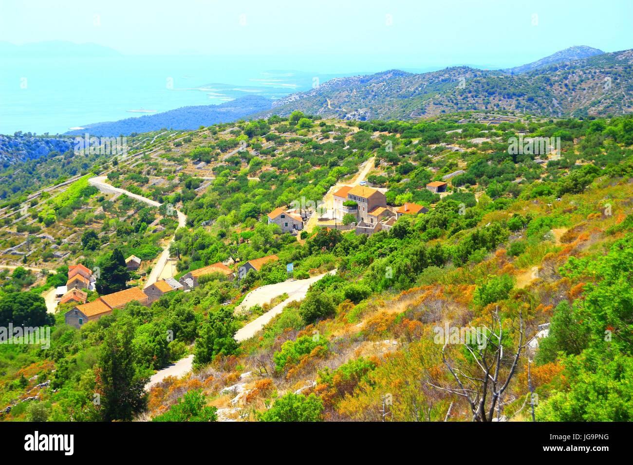 Vecchio villaggio Velo Grablje sull isola di Hvar, Croazia Immagini Stock