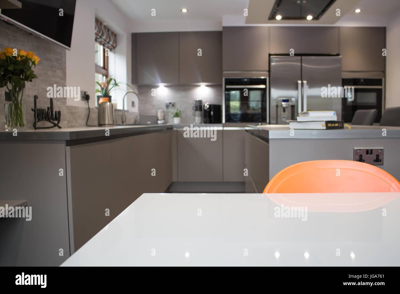 Hotel Di Lusso Interni : Un moderno hotel di lusso grigio opaco cucina interno che mostra un