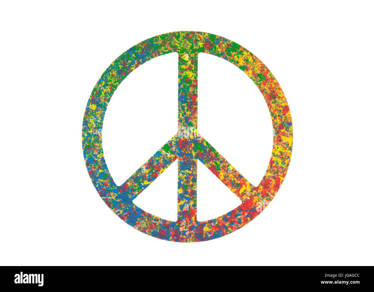 Verniciato colorato simbolo di pace isolato su bianco con tracciato di ritaglio Immagini Stock