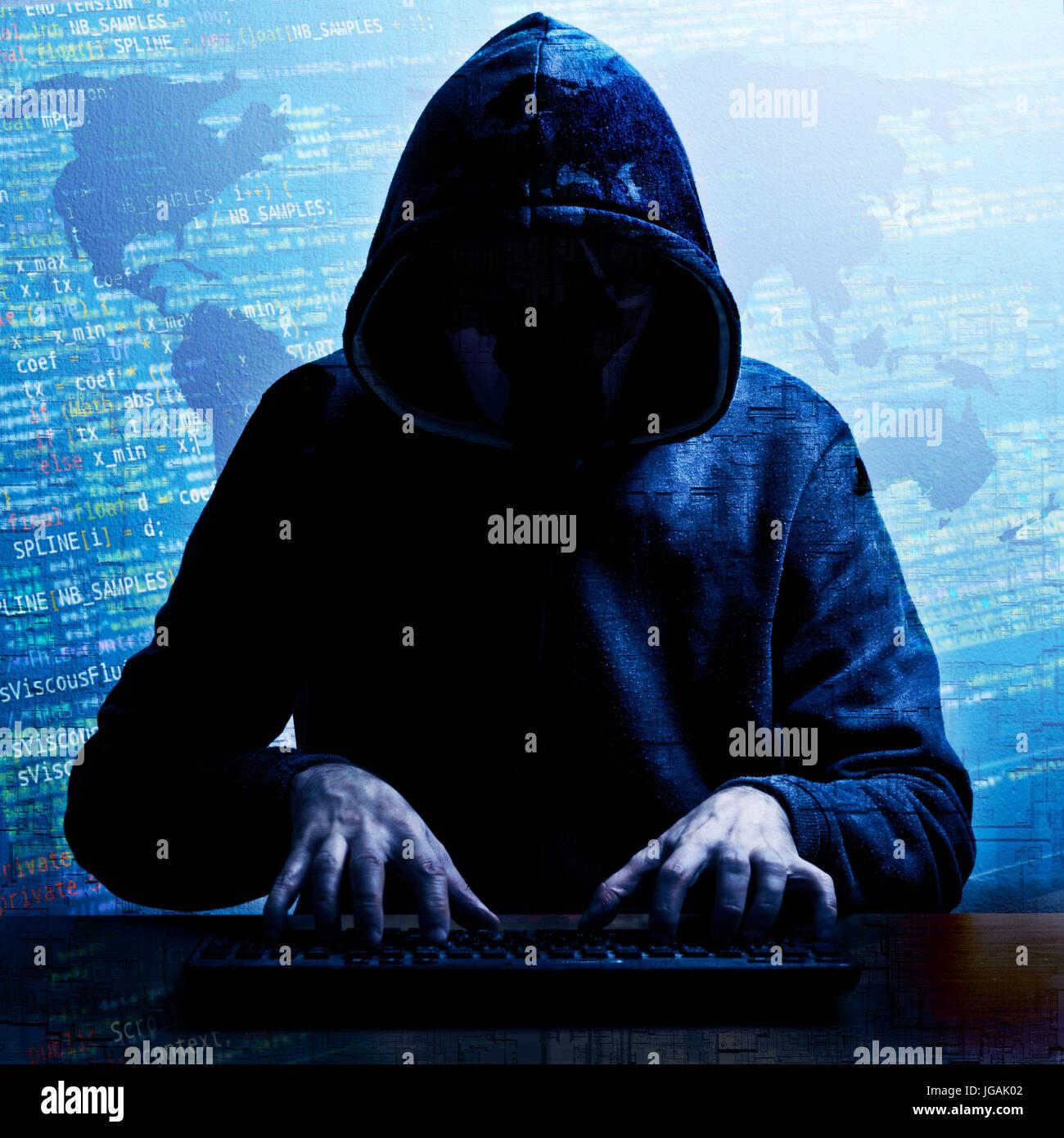 La pirateria informatica globale nozione di attività Immagini Stock
