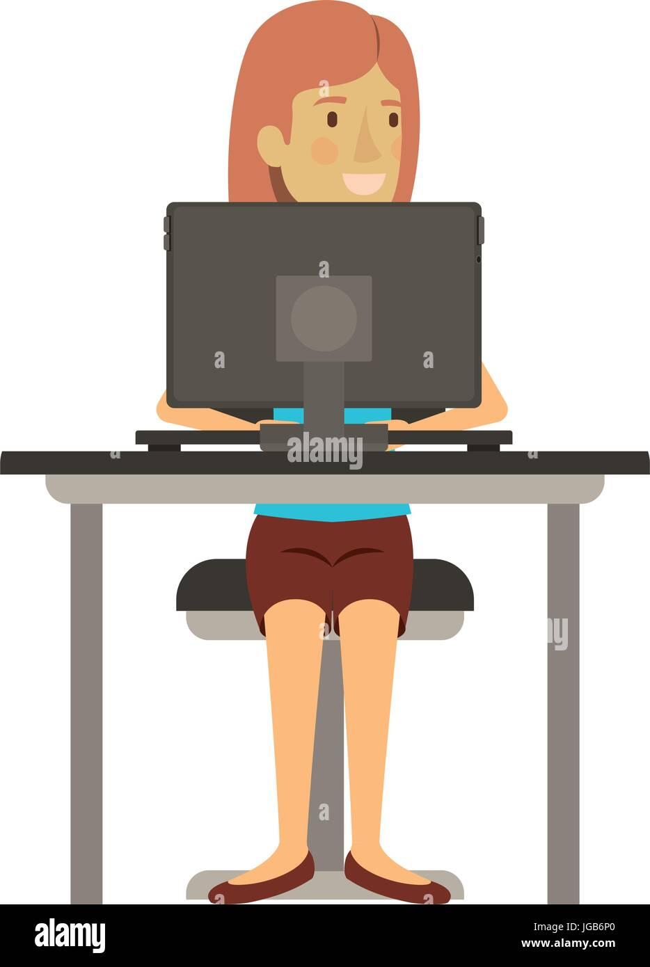 Sedie Per Scrivania Colorate.Colorate Silhouette Di Donna Con Capelli Corti E Seduto Nella Sedia