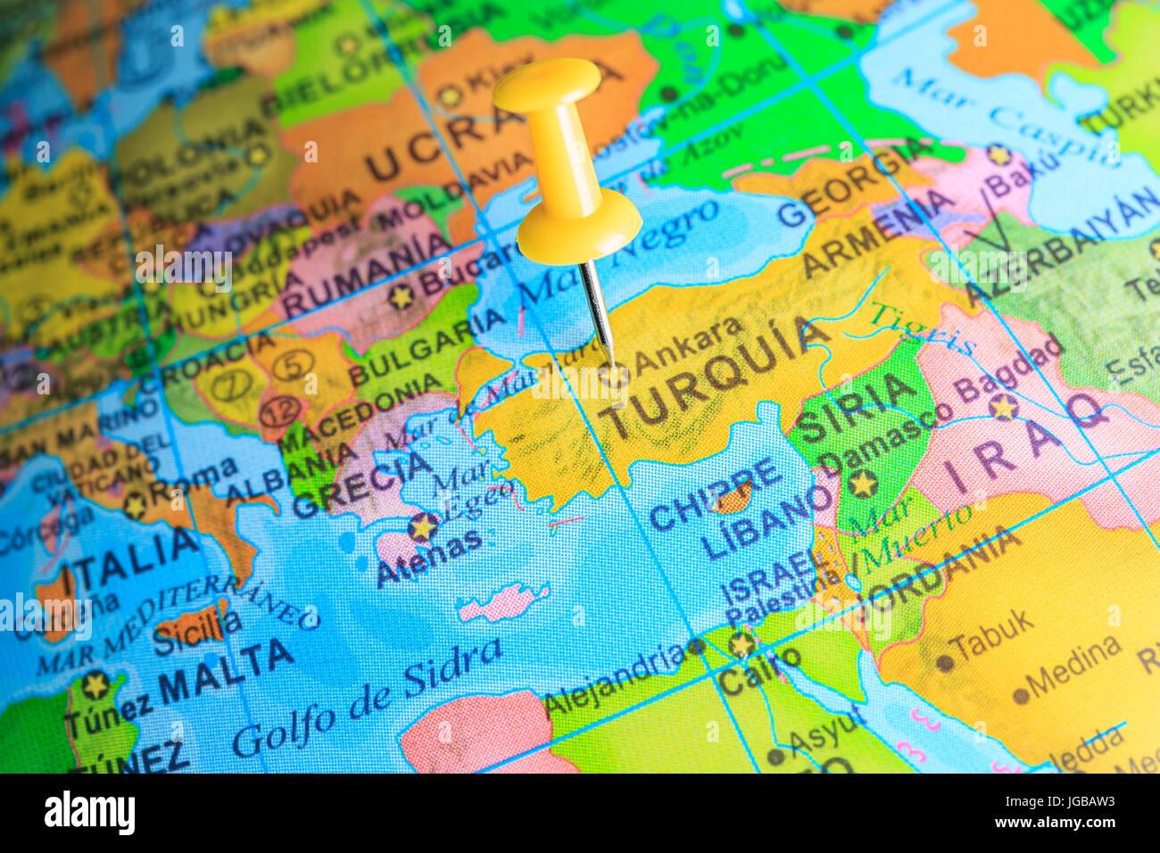 Cartina Italia Grecia Turchia.La Turchia Imperniata Su Una Mappa Di Europa Foto Stock Alamy