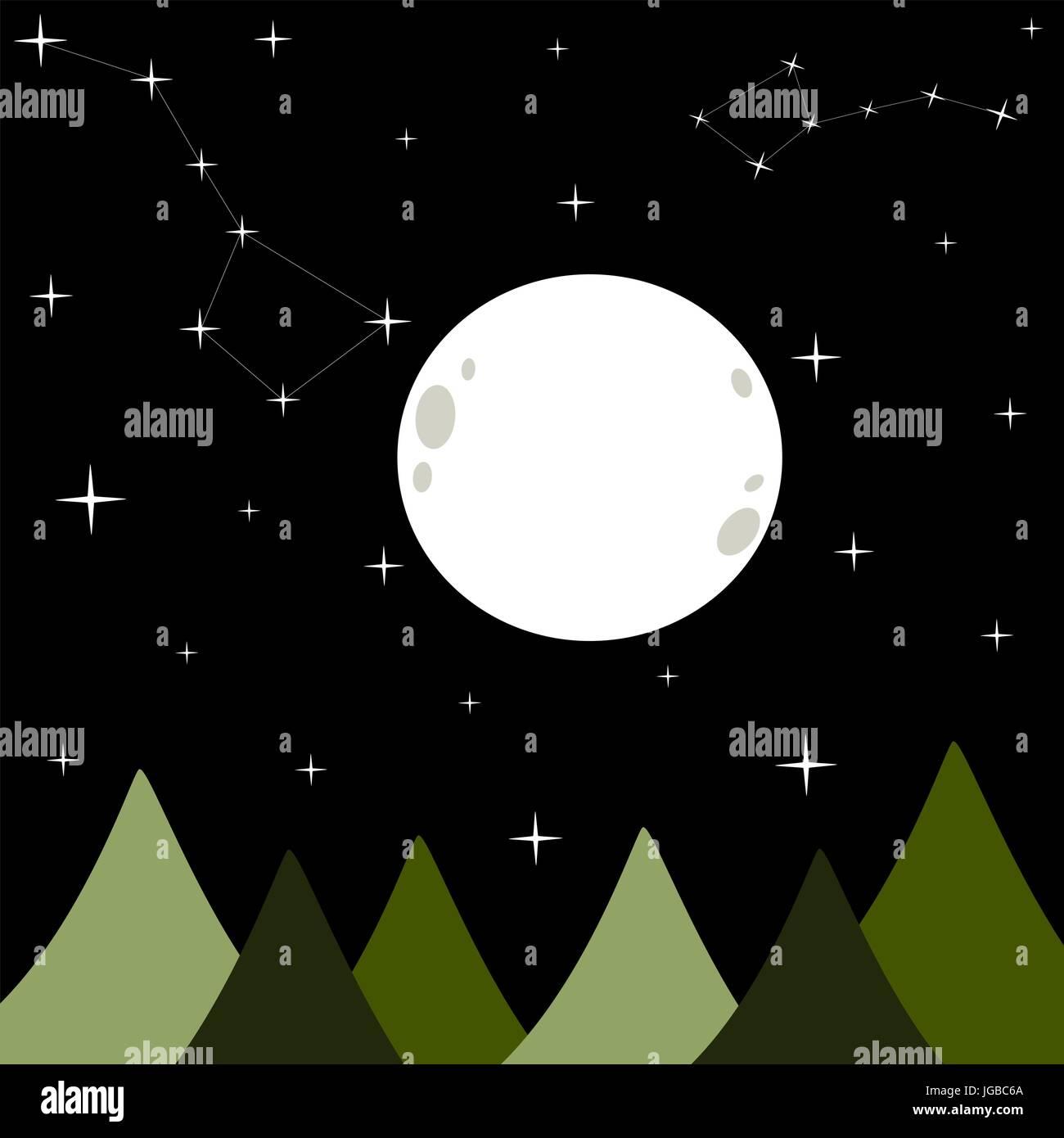 Bianco grande luna piena in un buio nero notte stellata sfondo