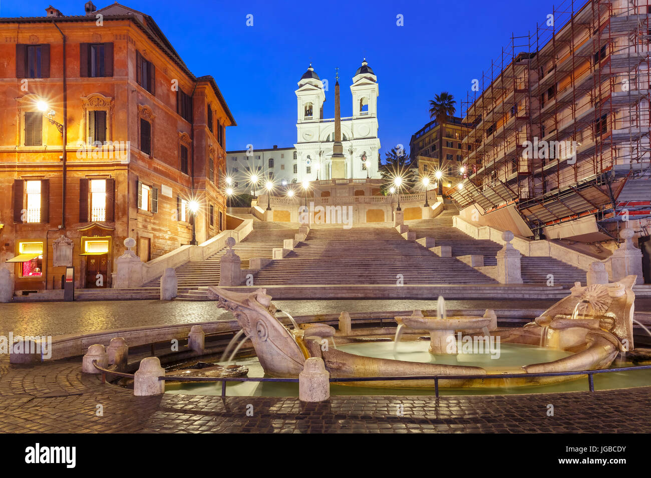 Scalinata di piazza di spagna di notte, Roma, Italia. Immagini Stock