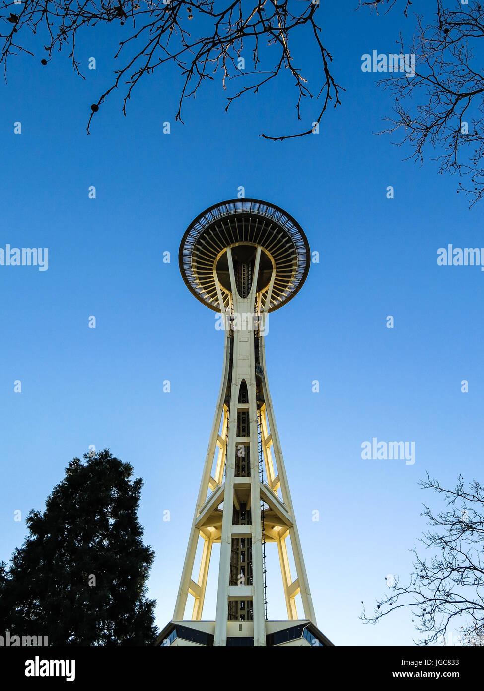 Seattle Space Needle - una prospettiva diversa Immagini Stock