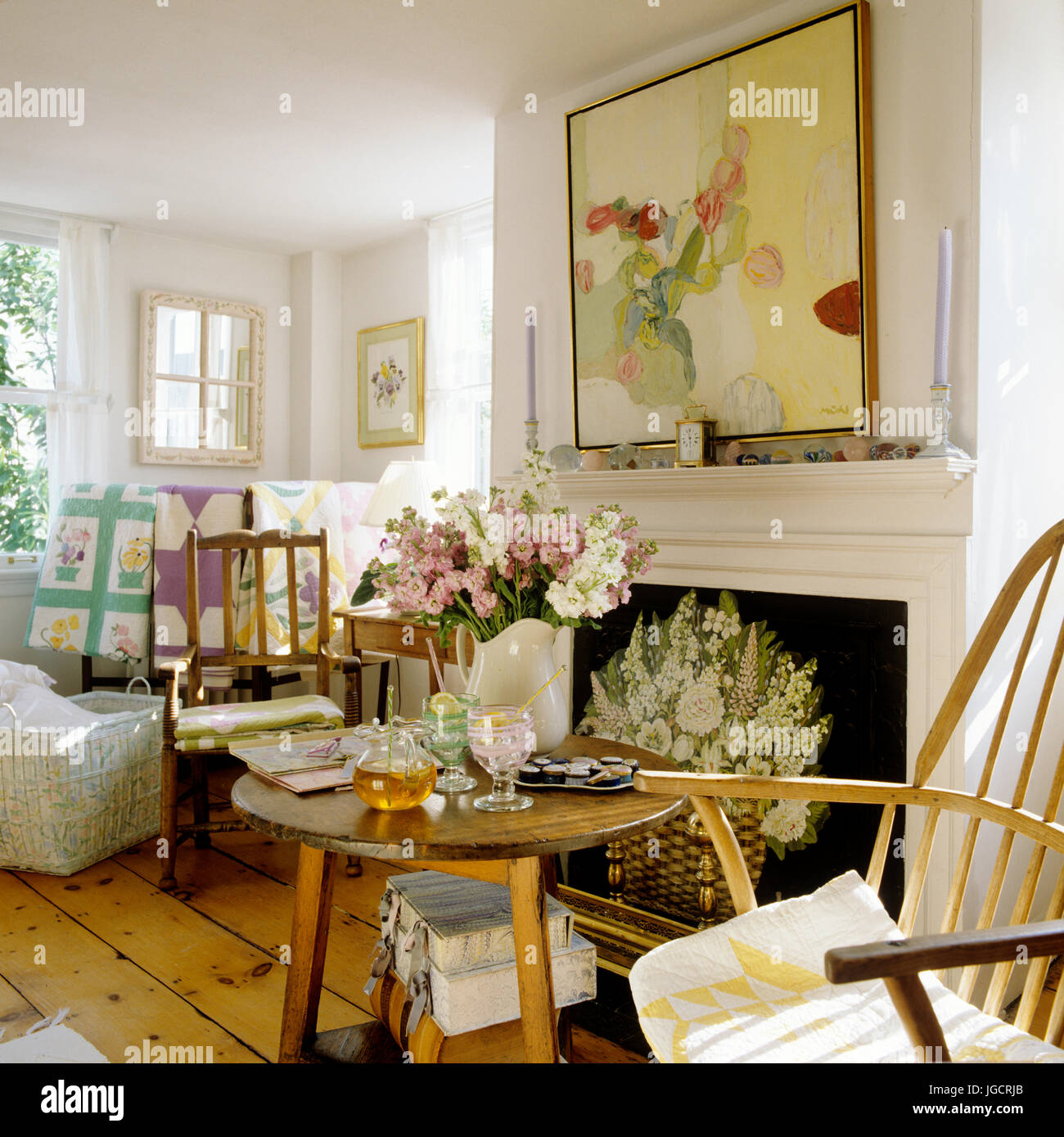 In stile country living room Immagini Stock