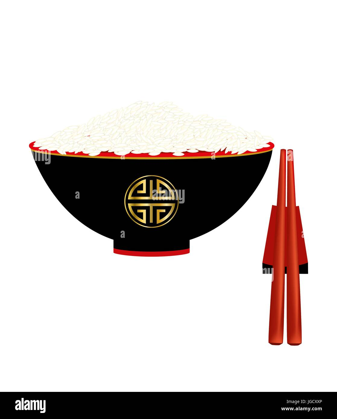 Ciotola cinese con riso su sfondo bianco Immagini Stock