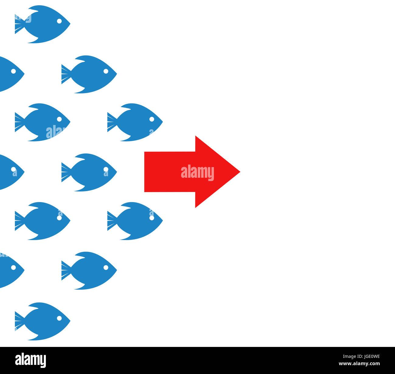 Banca di pesce seguire le direzioni concept design illustrazione su bianco Immagini Stock