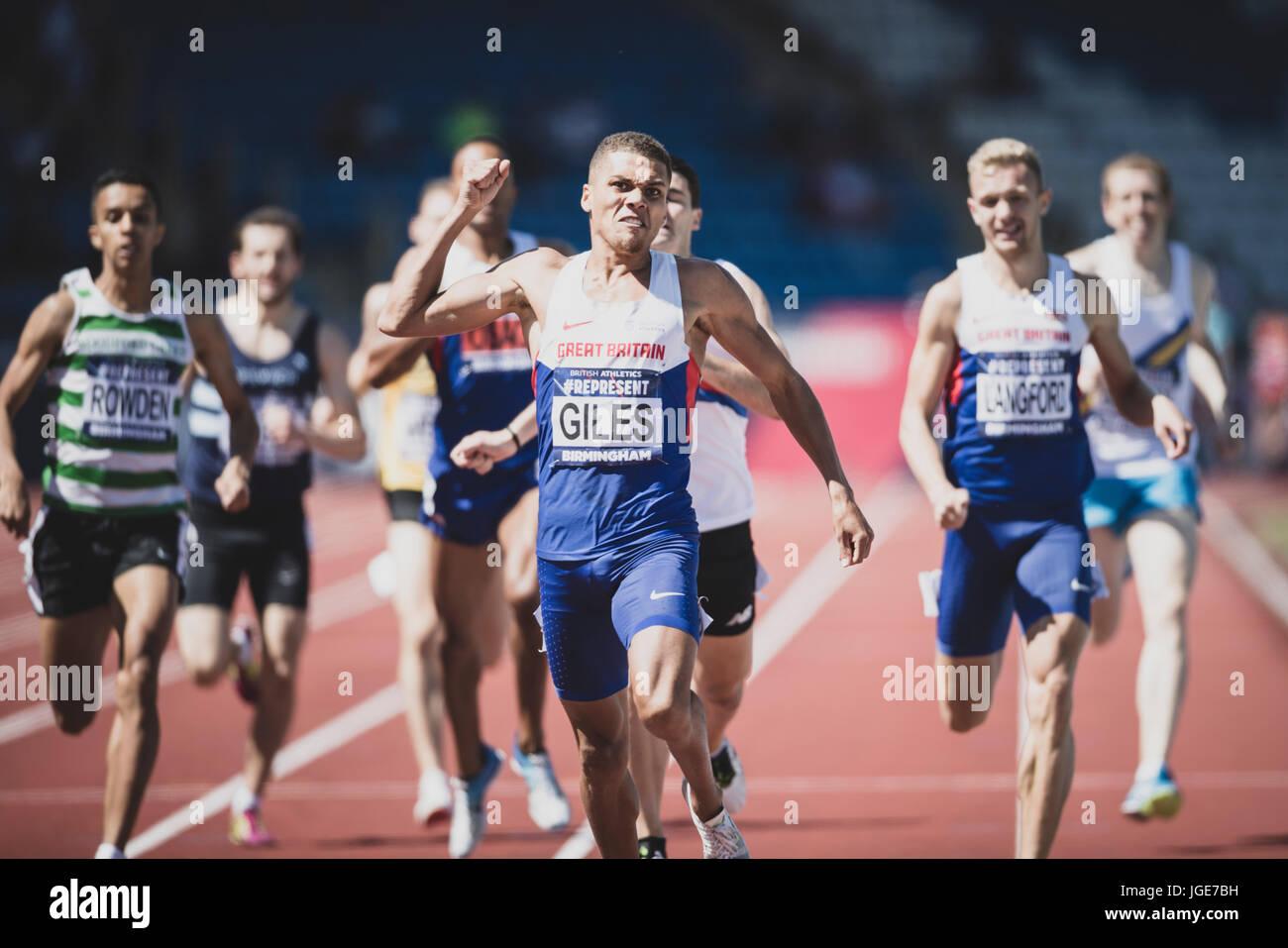 Elliot Giles vince il 1500m presso il British Athletics Championships e mondo Prove a Birmingham, Regno Unito su Immagini Stock