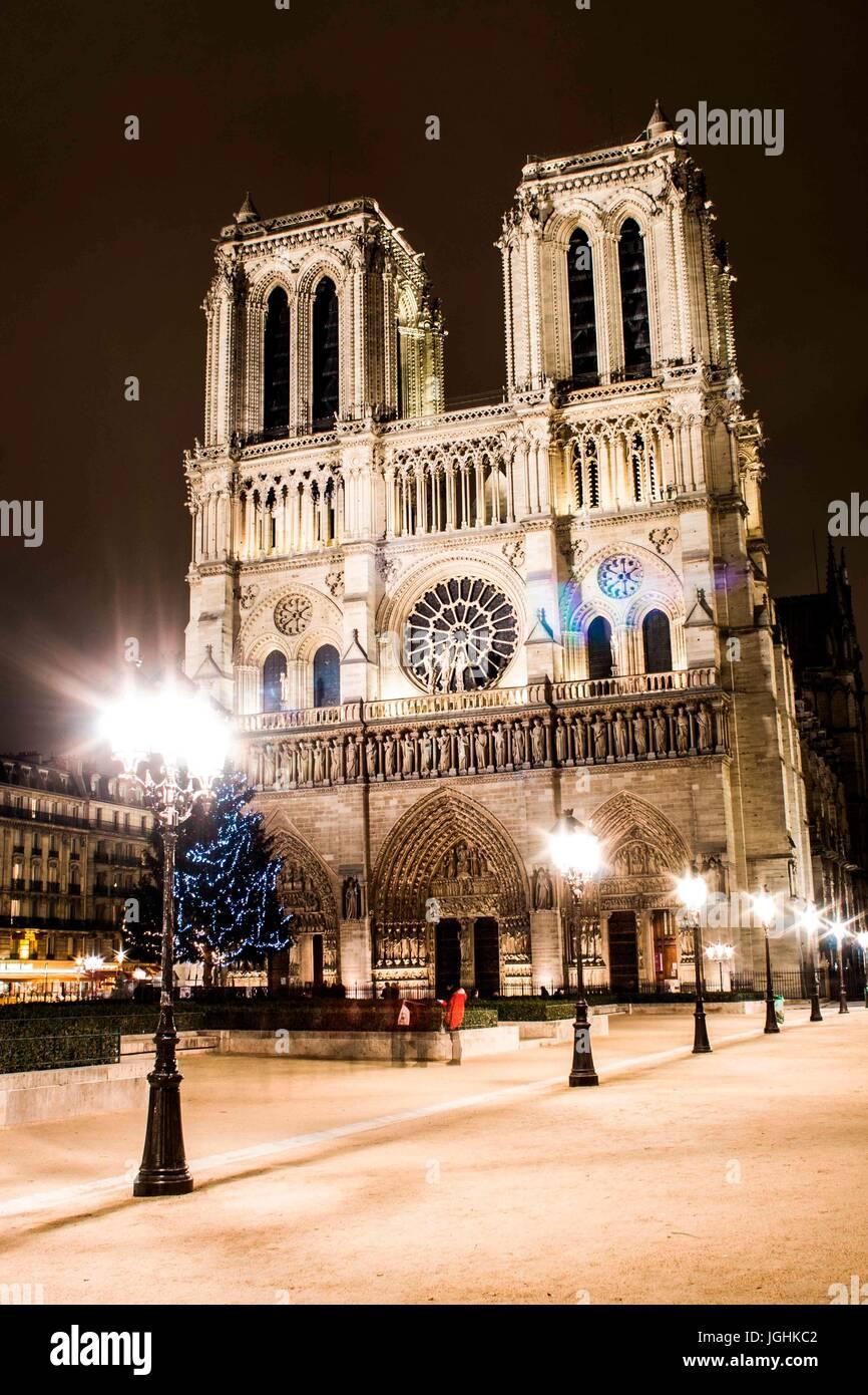 La cattedrale di Notre Dame (a Notre Dame). Parigi, Francia. 26.01.2009 Foto Stock