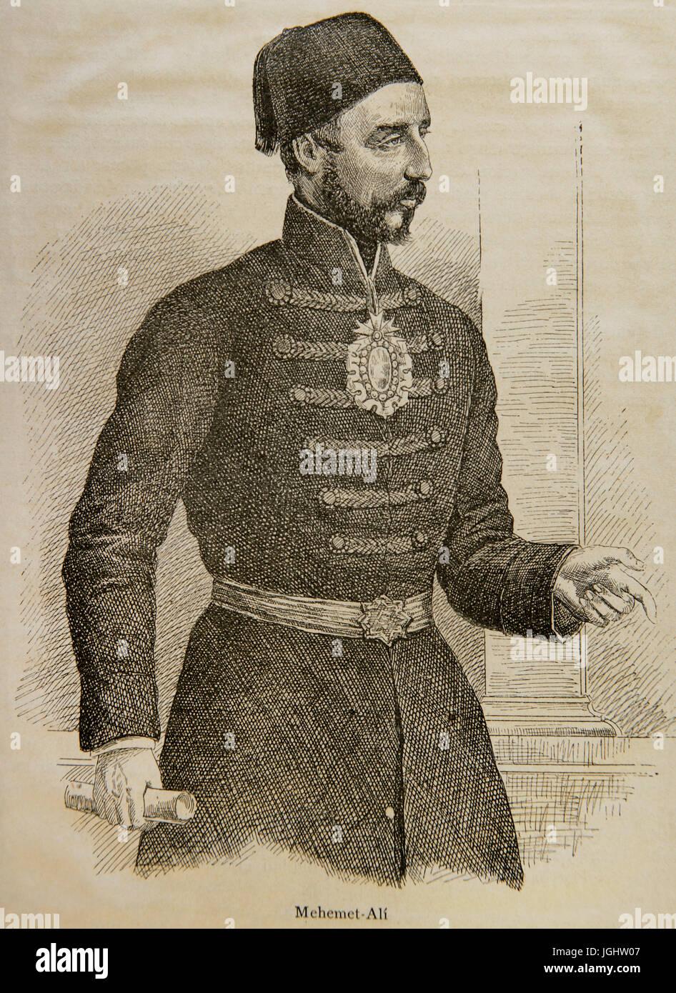 Muhammad Ali d'Egitto (1769-1849). Ottomano comandante albanese. Incisione nella storia universale, 1881. Immagini Stock