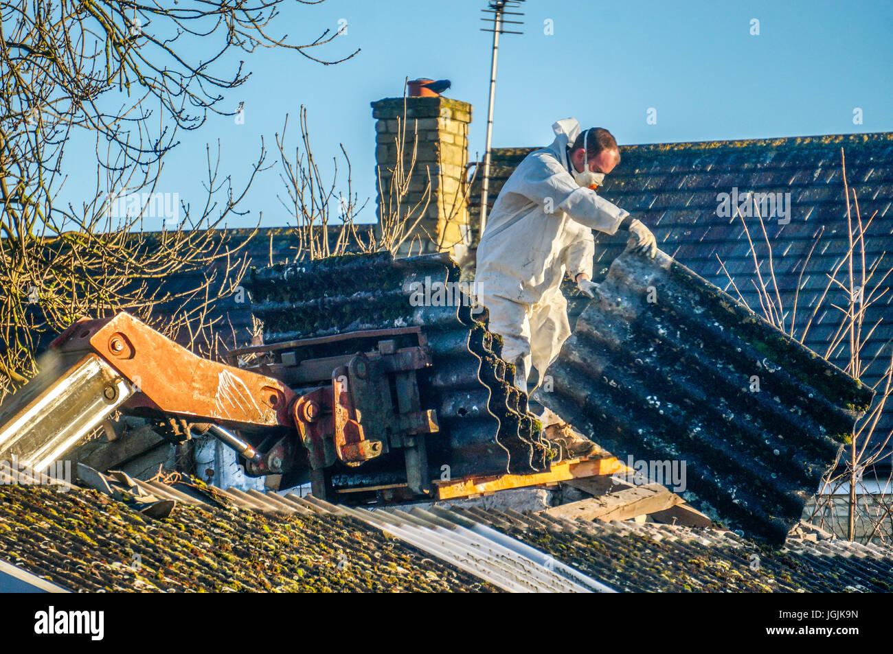 Un uomo che indossa indumenti protettivi durante la rimozione delle coperture in amianto da un vecchio fienile. Immagini Stock