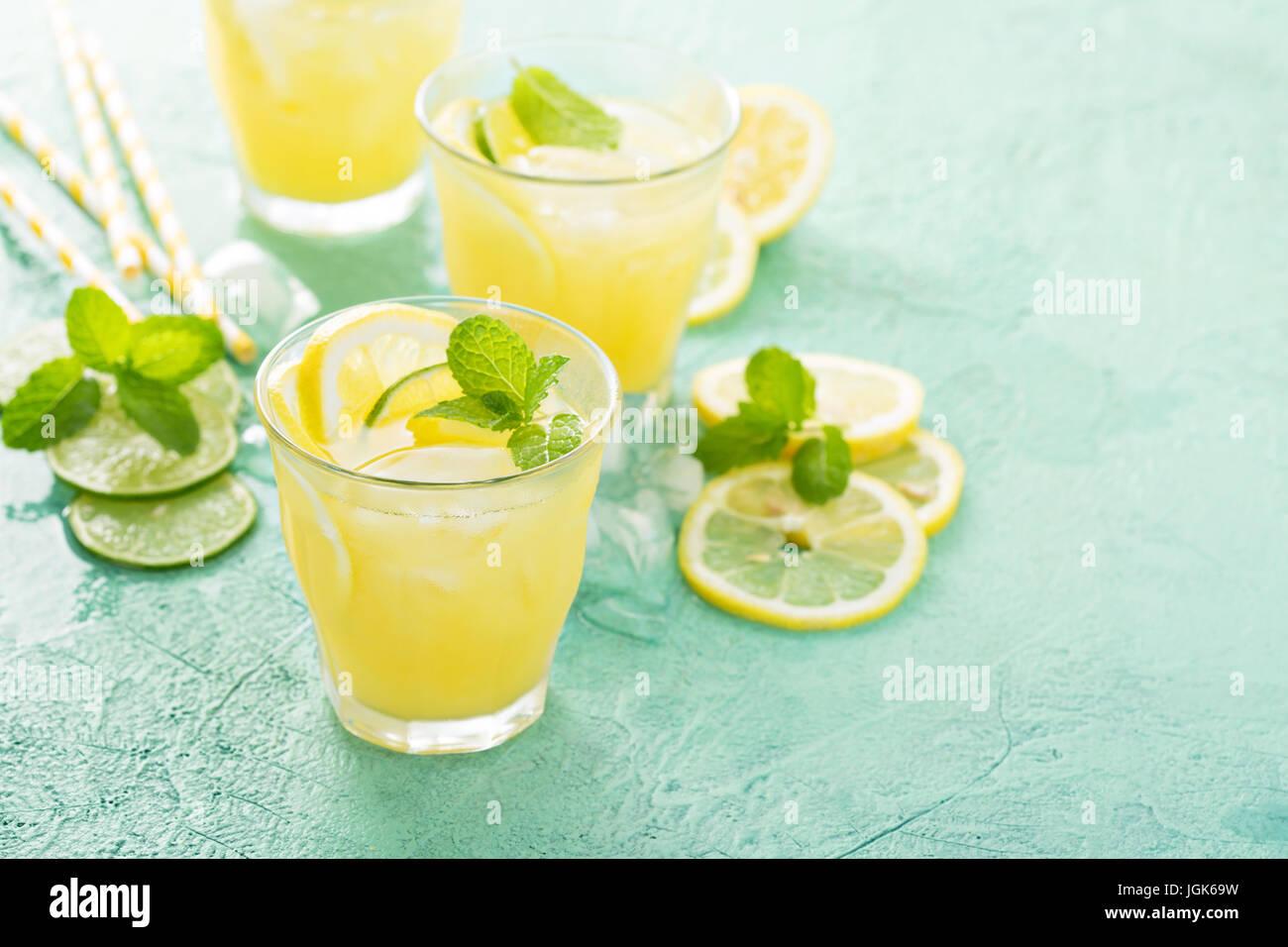 Rinfrescanti cocktail di agrumi con il limone Immagini Stock
