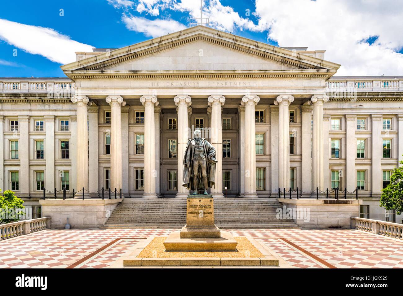 Il Ministero del Tesoro a Washington D.C. Questo edificio pubblico è una Pietra Miliare Storica Nazionale e Immagini Stock